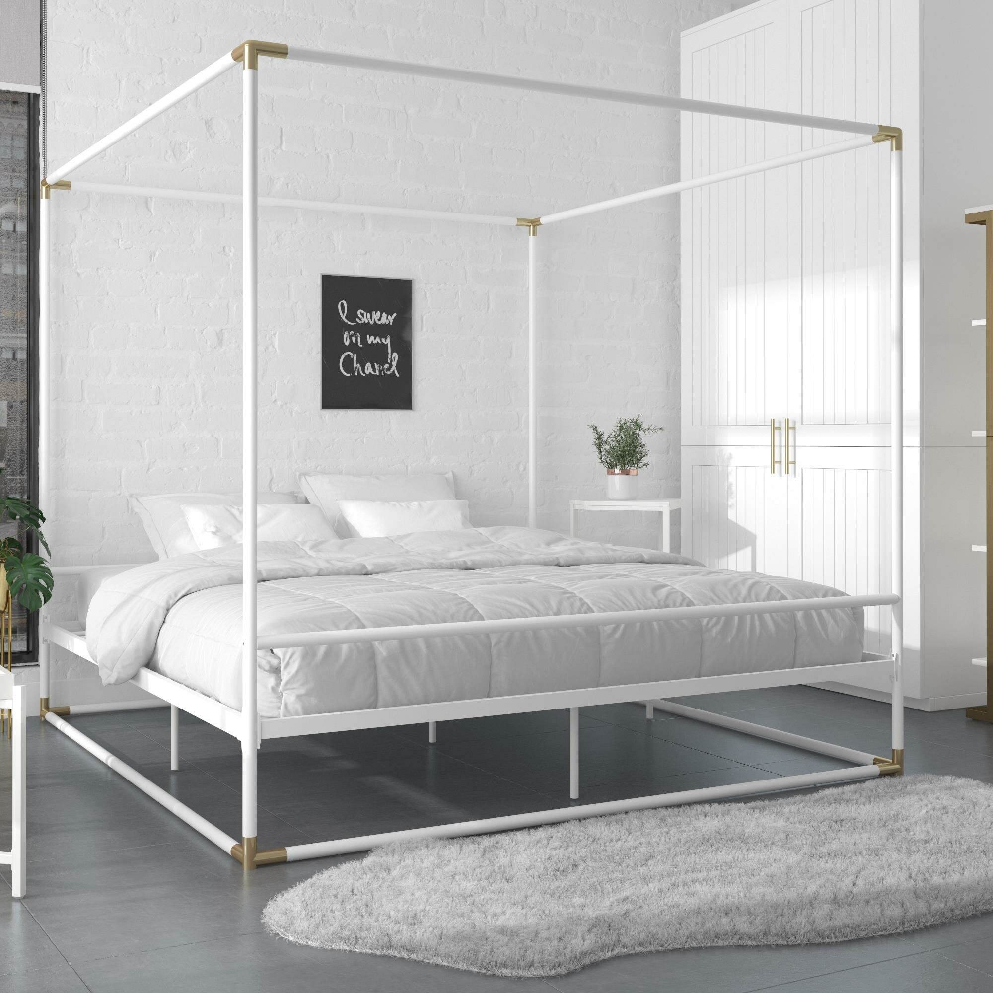 Image of: Cosmoliving By Cosmopolitan Celeste Metal Canopy Bed Reviews Wayfair