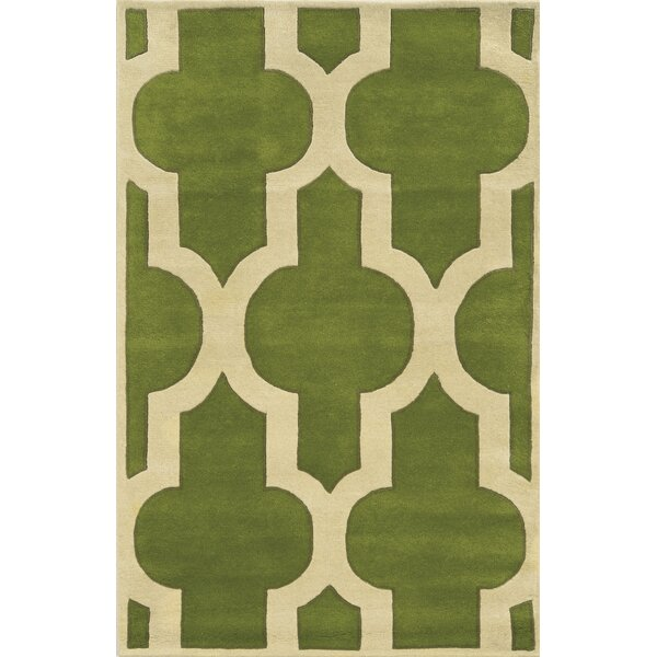 Marghera Hand-Tufted Green/Ivory Area Rug by Meridian Rugmakers