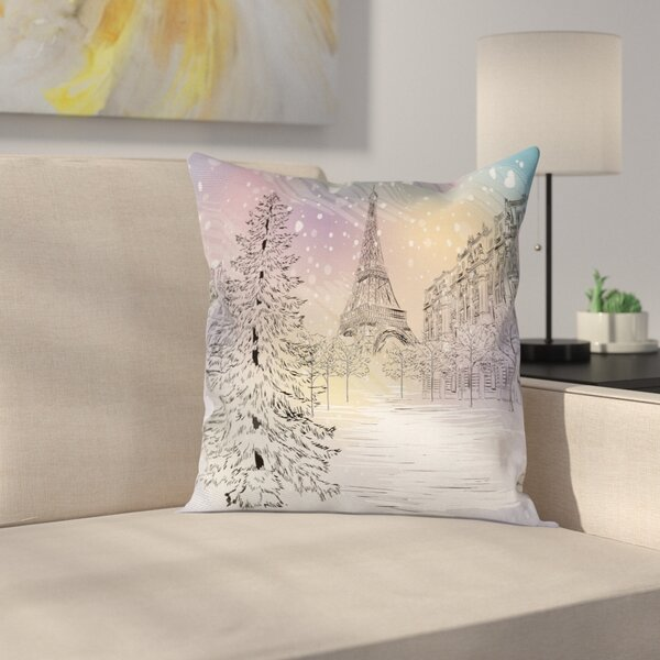 Eiffel Winter Day at Paris Square Pillow Cover by East Urban Home