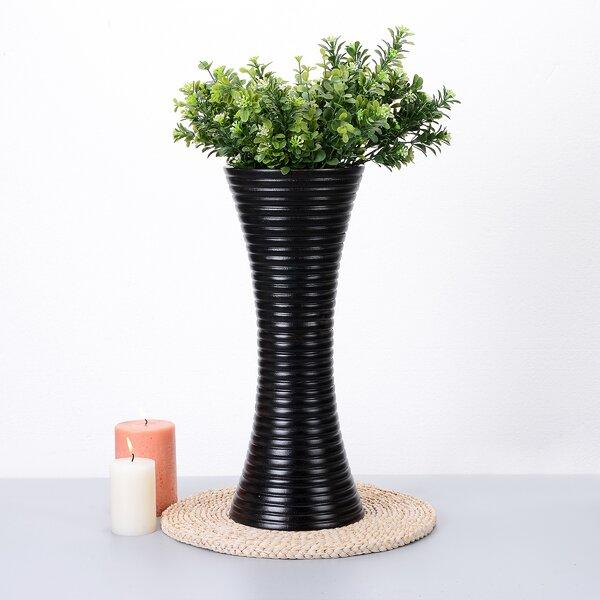 Kelloch Tall Trumpet Ripple Mango Wood Table Vase by Bay Isle Home