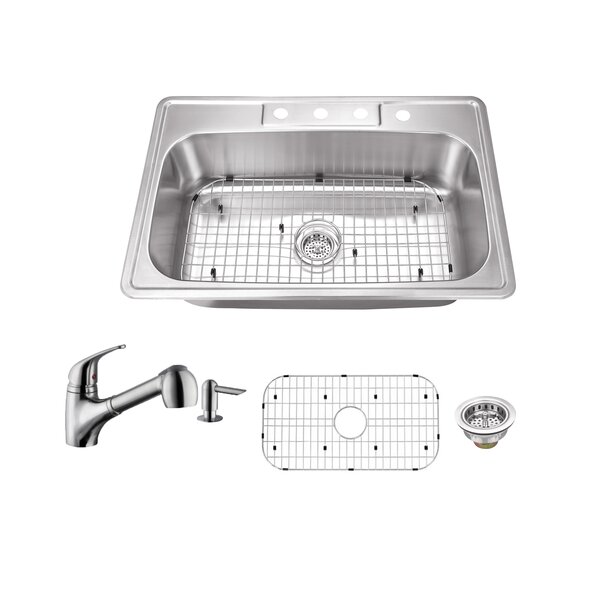 20 Gauge Stainless Steel 33 L x 22 W Drop-In Kitchen Sink with Faucet by Soleil