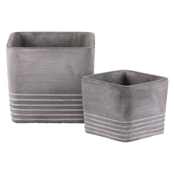 Buntin 2-Piece Cement Pot Planter Set by Union Rustic