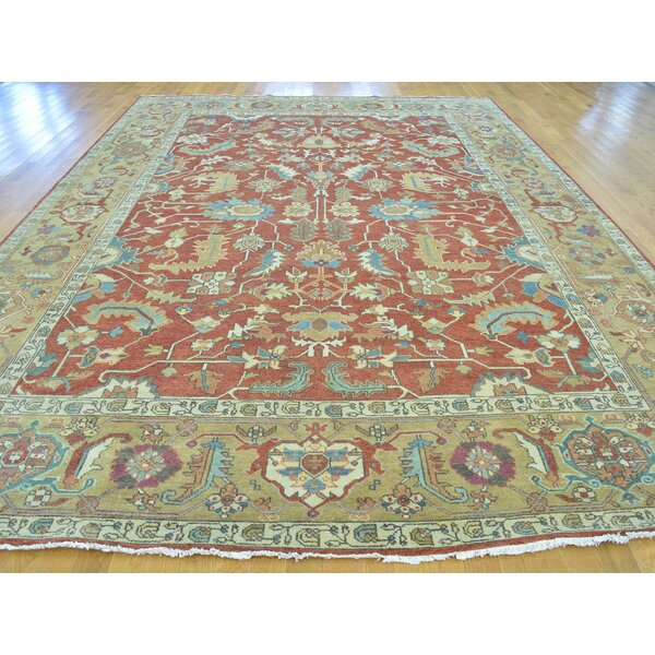 One-of-a-Kind Beare All Over Design Hand-Knotted Red Wool Area Rug by Isabelline