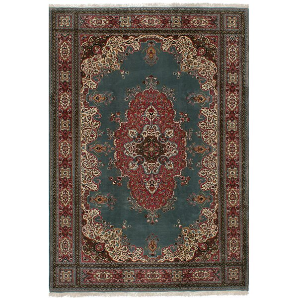 One-of-a-Kind Gregor Hand-Knotted Wool Teal Area Rug by Isabelline