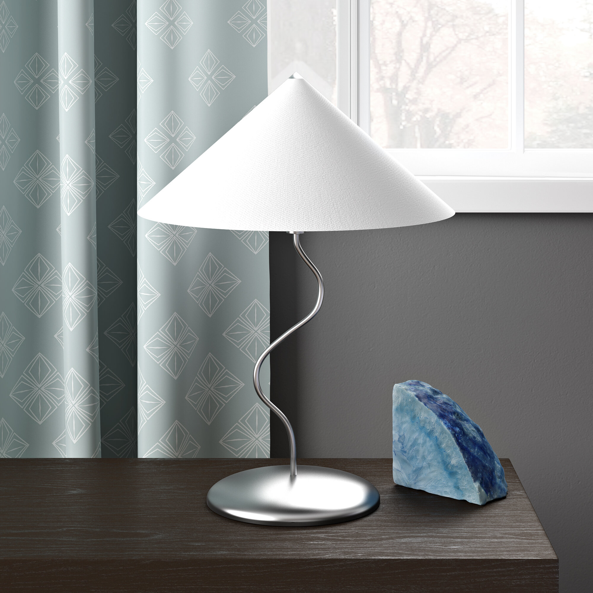Chrome Touch Dimmer Curl Table Lamp Fabric Tapered Lampshades LED Light Bulbs