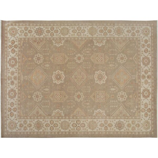 Xenos Transitional Hand-Knotted Wool Tan/Ivory Area Rug by Astoria Grand