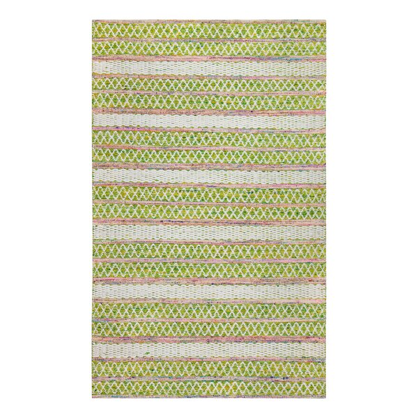 Hand-Woven Green/White Area Rug by Bungalow Rose