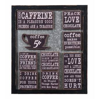 Wall Message Board with Coffee /& Chocolate Magnets