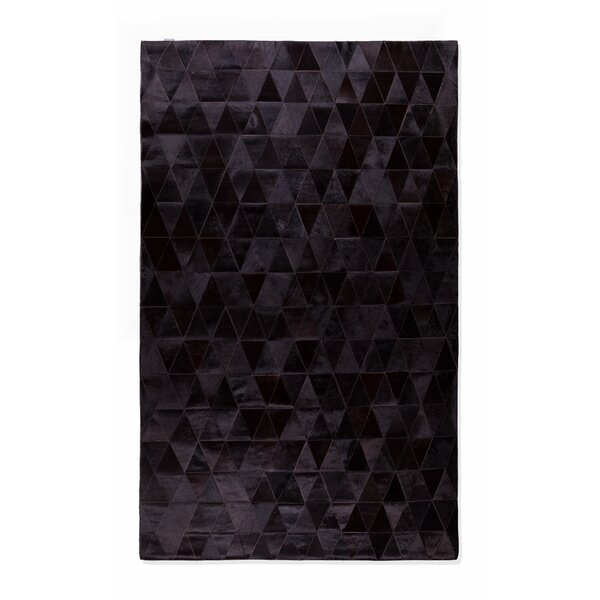 Bhavin Stitch Hand-Woven Cowhide Mosaik Black Area Rug by 17 Stories