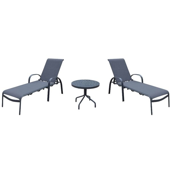 Wegford Courtyard Casual Santa Fe Sun Lounger Set with Table (Set of 3)