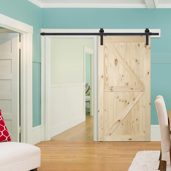 Pine Panelled Wood Slab Interior Barn Door by Belleze