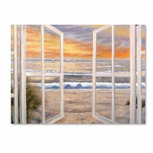 Elongated Window Painting Print on Canvas by Trademark Global