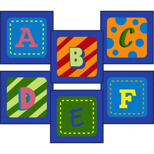 Allerdale Alphabet Sitting Blue Area Rug by Zoomie Kids
