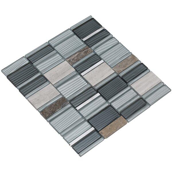 Tallia 12 x 12.5 Glass/Stone/Metal Mosaic Tile in Blueish Gray/Silver by Mirrella