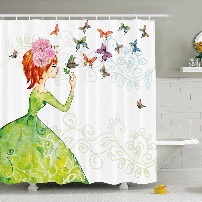 Rose Flower Decor Shower Curtain Set Valentine/'s Day Love Bath Curtains 12 Hooks