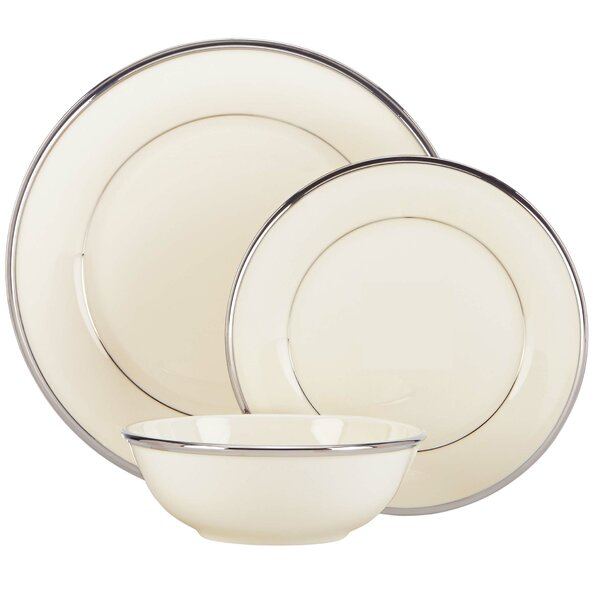 Solitaire Bone China 3 Piece Place Setting, Service for 1 by Lenox