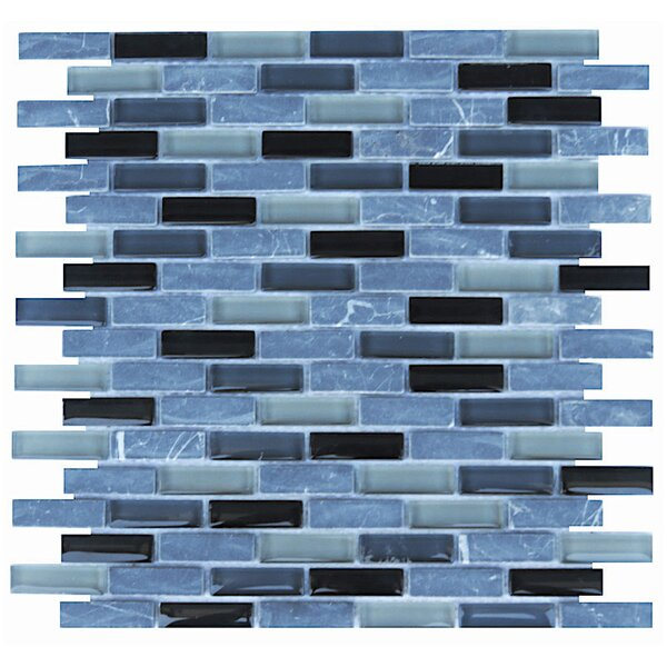 Roma 0.6 x 2 Natural Stone/Glass Mosaic Tile in Black by NovoTileStudio