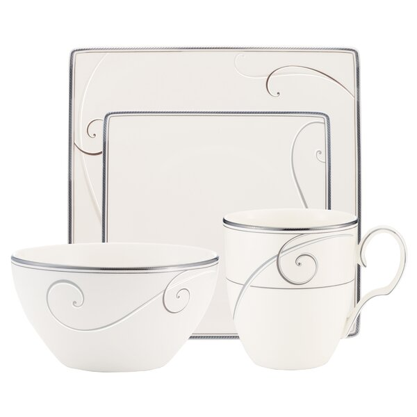 Platinum Wave Square 4 Piece Place Setting, Service for 1 by Noritake