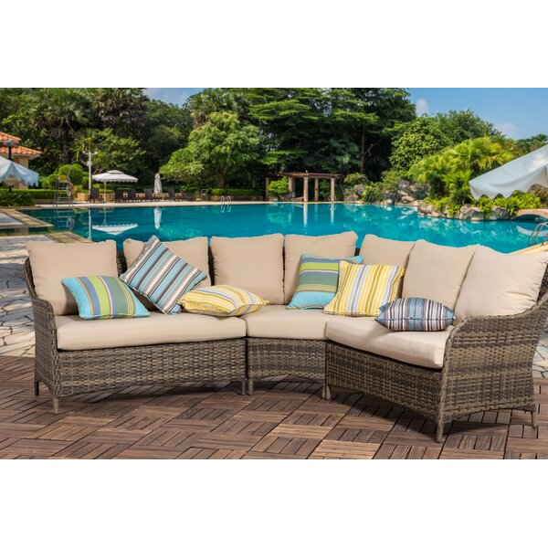 Hemphill Outdoor 3 Piece Rattan Sectional Seating Group with Cushions (Set of 3) by Bayou Breeze