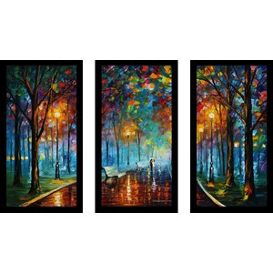 Misty Mood by Leonid Afremov 3 Piece Framed Painting Print Set by Picture Perfect International
