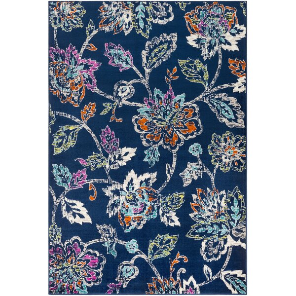 Ramsay Distressed Floral Navy/Cyan Area Rug by Bungalow Rose
