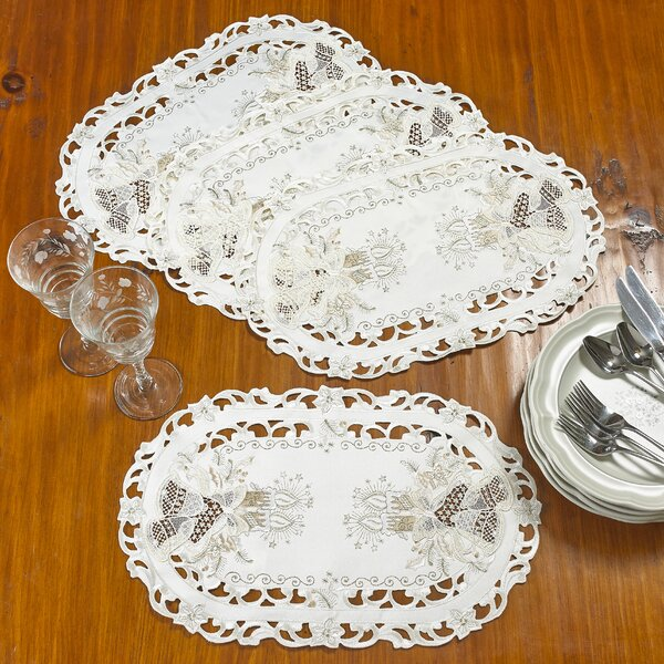 Delsur Candle and Bells Handmade Embroidered Cutwork Candle 12 Placemat (Set of 4) by The Holiday Aisle