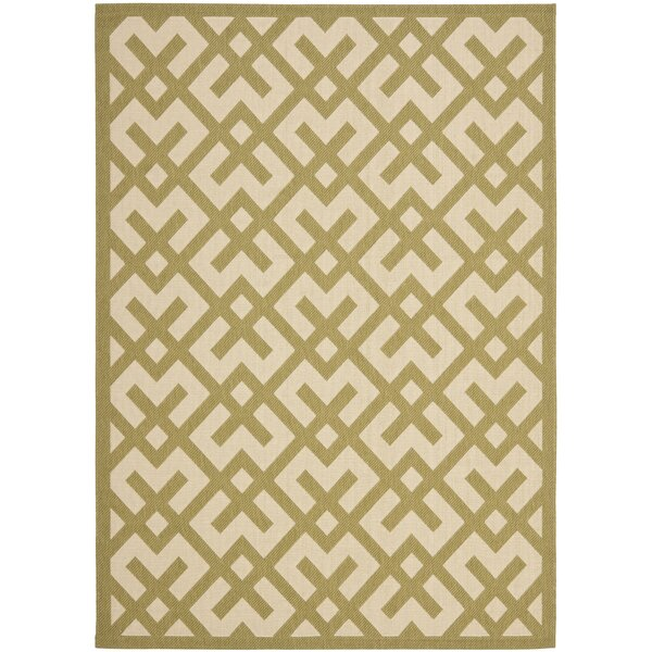 Sherree Beige/Green Indoor/Outdoor Area Rug by Wrought Studio