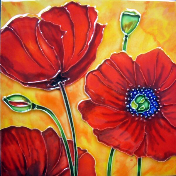 3 Red Poppies with Orange Background Tile Wall Decor by Continental Art Center