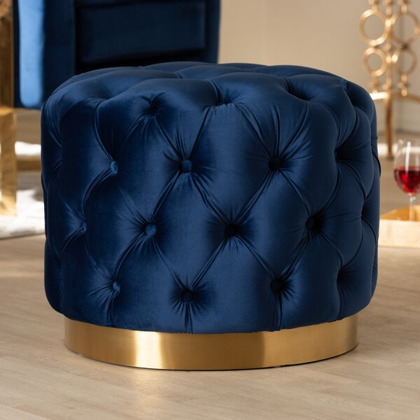 Cerys Glam Upholstered Tufted Cocktail Ottoman by Mercer41