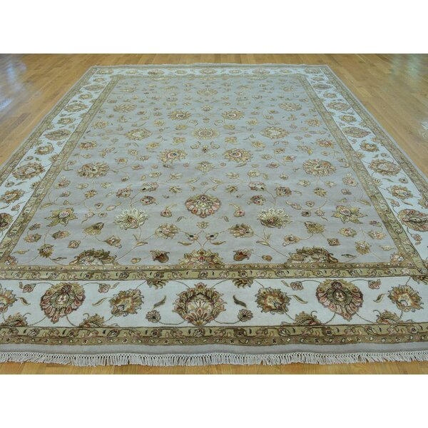 One-of-a-Kind Bear Hand-Knotted Grey Wool/Silk Area Rug by Isabelline