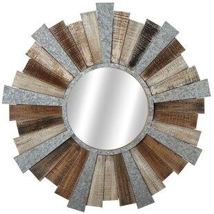 Gracie Oaks Elsworth Slat and Galvanized Sunburst Wall Mirror