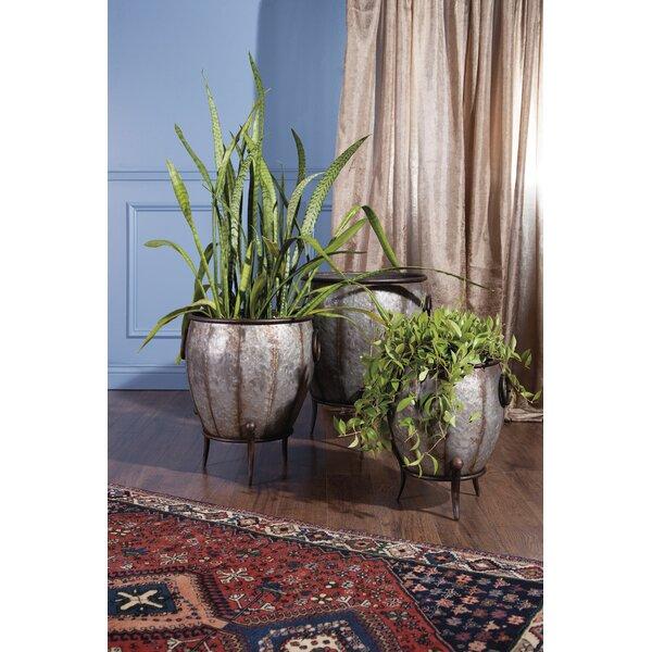 Beatson 3-Piece Galvanized Iron Pot Planter Set by Gracie Oaks