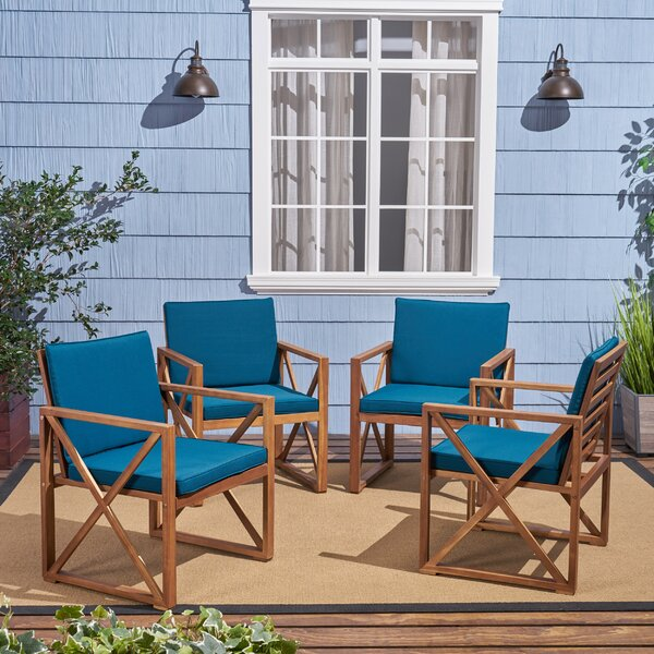 Anneke Patio Chair with Cushions (Set of 4) by Highland Dunes