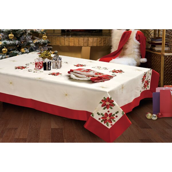 Holiday Poinsettia Embroidered Tablecloth by Window Elements