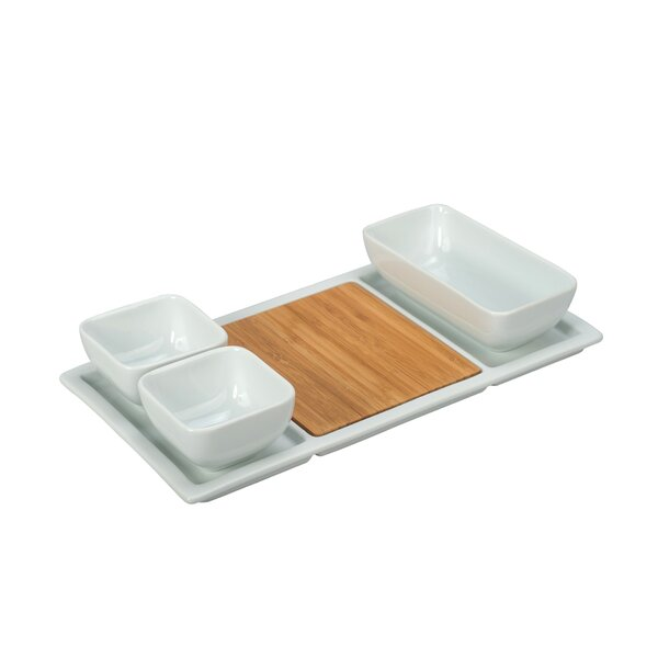 5 Piece Bamboo and Porcelain Divided Serving Dish Set by BIA Cordon Bleu