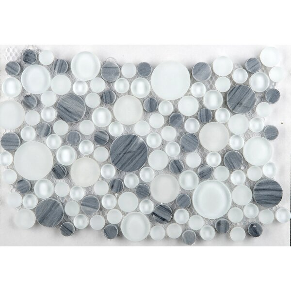 Lucente 12 x 12 Glass Stone Blend Circle Mosaic Tile in Grazia by Emser Tile