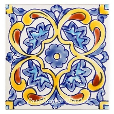 Mallory Indoor/Outdoor 4 x 4 Ceramic Tile in Blue/Yellow by Casablanca Market