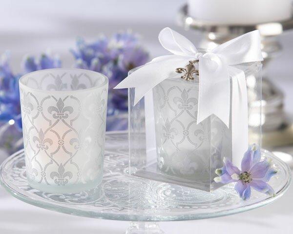 Fleur-de-lis Glass Tealight Holder (Set of 20) by Kate Aspen