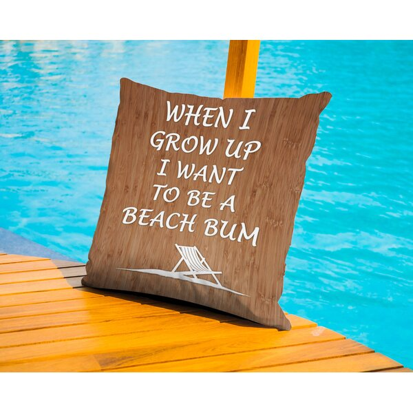When I Grow Up Beach Bum Outdoor Throw Pillow by Americanflat