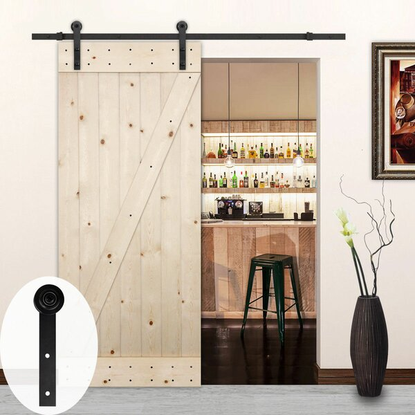 Sliding Wood Track Kit Straight Roller Barn Door Hardware by Lubann