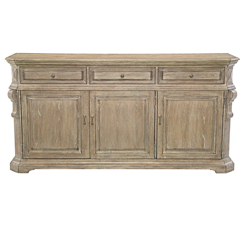 "Campania 76.13"" Wide 3 Drawer Oak Wood Sideboard"
