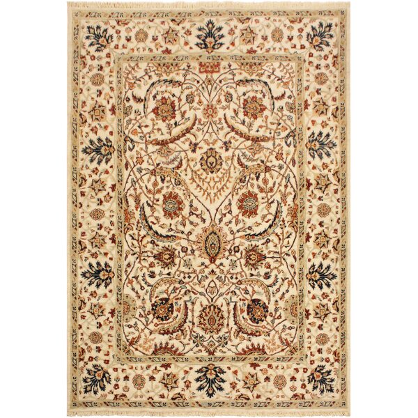 One-of-a-Kind Bodrum Hand-Knotted Wool Ivory/Blue Area Rug by Canora Grey