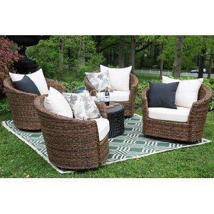 Pikeville 5 Piece Sunbrella Conversation Set with Cushions By Bay Isle Home