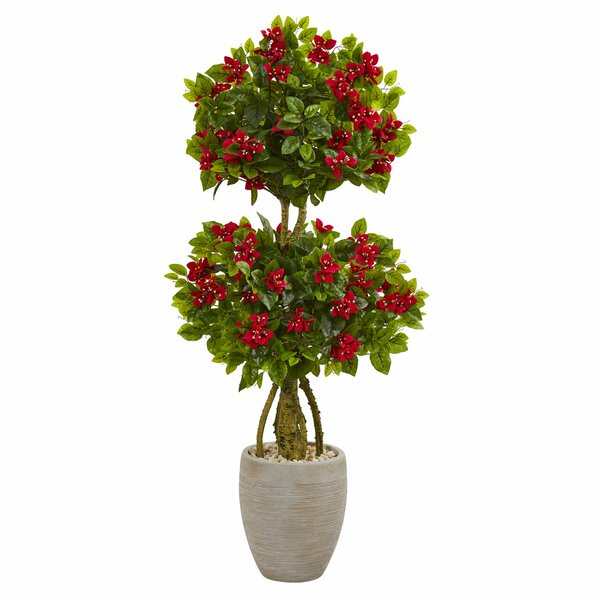 Double Artificial Floor Bougainvillea Topiary in Planter by Bloomsbury Market