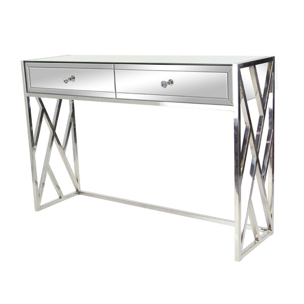 Scorpio Modern 2-Drawer Mirrored Console Table by Orren Ellis