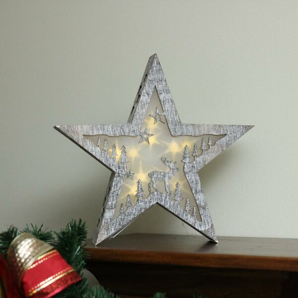 LED Lighted Rustic Wooden Star Christmas Decoration Deer Lamp by Union Rustic