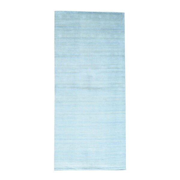One-of-a-Kind Tasha Overdyed Vintage Hand-Knotted Sky Blue Area Rug by Brayden Studio