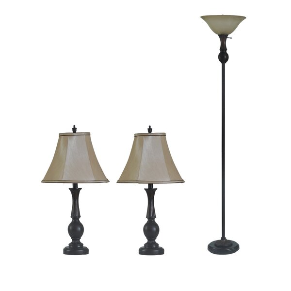 Vezina 3 Piece Table and Floor Lamp Set by Red Barrel Studio