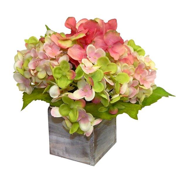 Farmhouse Hydrangeas Floral Arrangement in Planter by Gracie Oaks