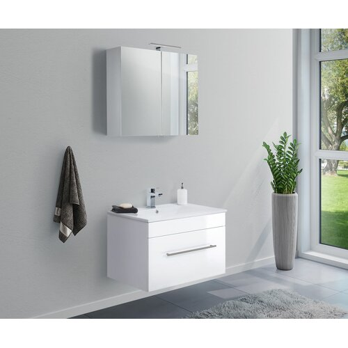 Viva 2-Piece Bathroom Furniture Set Belfry Bathroom Furniture Finish: High-gloss White